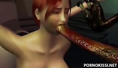 Мультяшная давалка дает выебать себя в рот и пизду монстру